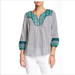 Lucky Brand Printed Yoke Peasant Blouse Large